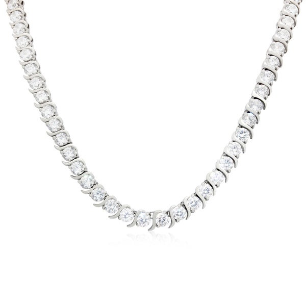 Sterling Silver 5mm Round-cut CZ Designer Chain Necklace