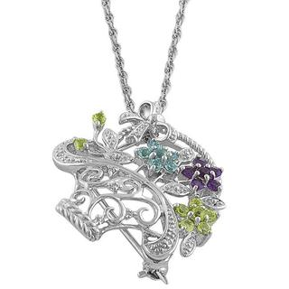 Fremada Silver Multi-gemstone and Diamond Accent Flower Basket Necklace