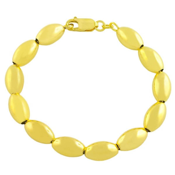 Gold over Sterling Silver Polished Oval Beads Bracelet