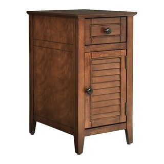 OSP Home Furnishings Brooke Chair Side Table in Chestnut Finish