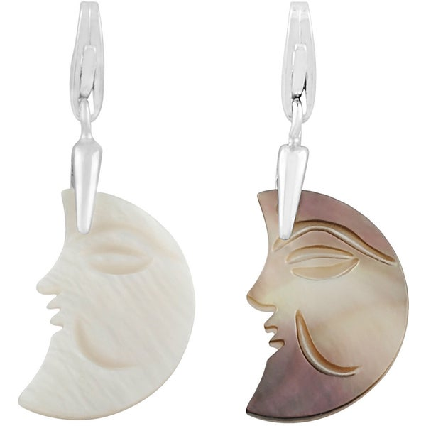 Fremada Rhodium Plated Sterling Silver Mother of Pearl Half Moon Charm