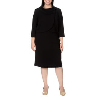 Arthur S. Levine Women's Plus-size Sheath Dress/ Wrap Jacket Set
