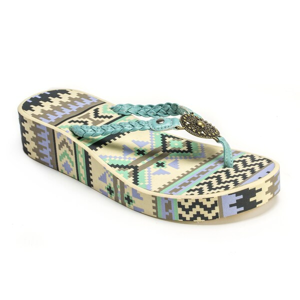 Muk Luks Women's 'Sierra' Mint Green Wedge Flip Flops