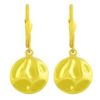 Gold over Sterling Silver Puffed Round Dangle Earrings