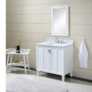 Carrara 36-inch White Marble Top Single Sink Bathroom Vanity in White Finish