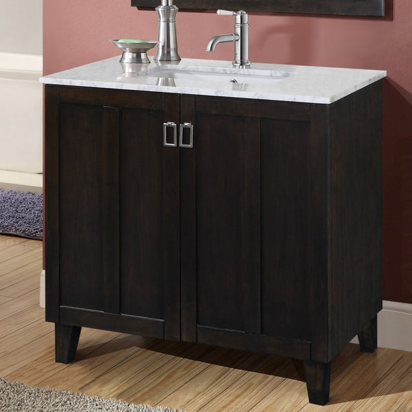 carrara 36 inch white marble top single sink bathroom vanity in dark