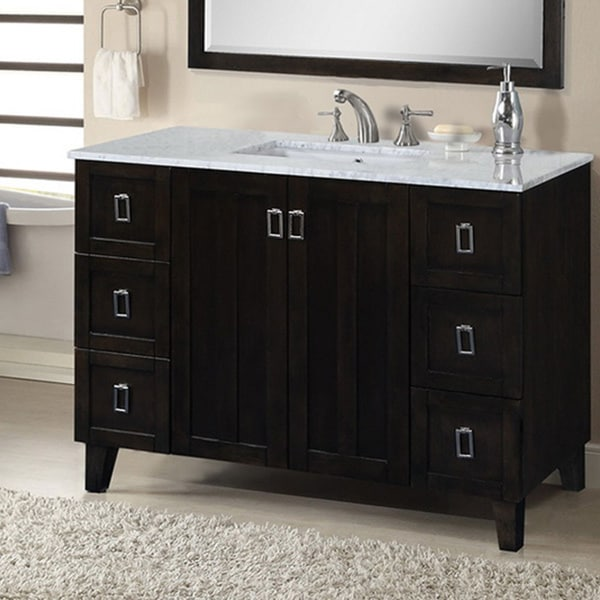 style 48 inch carrara white marble top single sink bathroom vanity