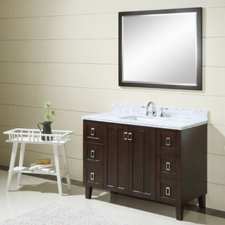 Contemporary Style 48-inch Carrara White Marble Top Single Sink Bathroom Vanity in Dark Brown Finish