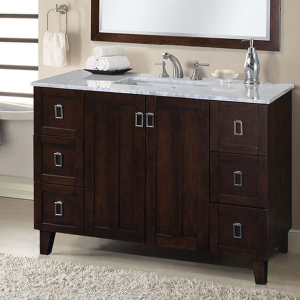 48 inch white marble top single sink bathroom vanity in brown finish