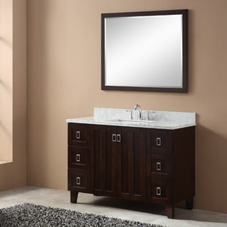 Contemporary Style Carrara 48-inch White Marble Top Single Sink Bathroom Vanity in Brown Finish