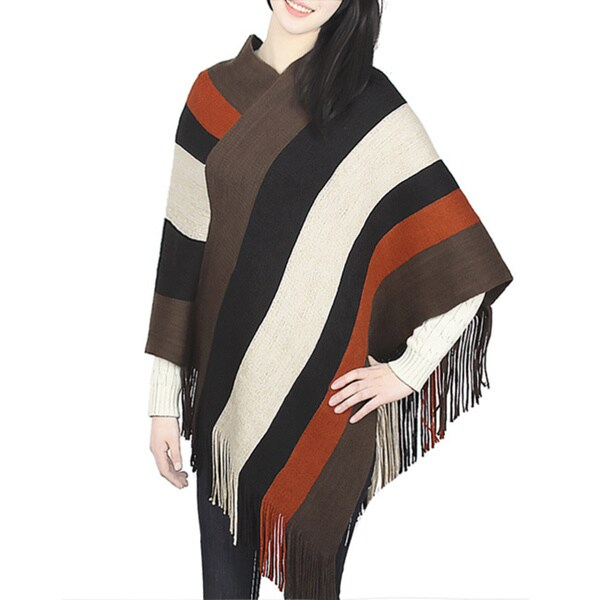 Multi Stripe Glitter Knit Fancy Poncho