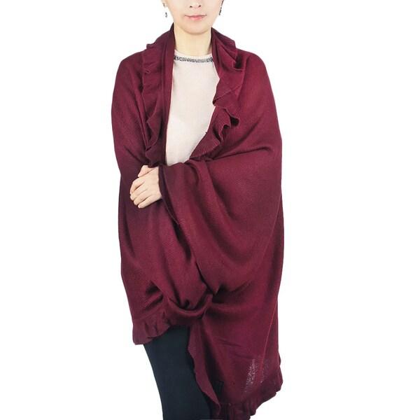 Luxury Soft Knit Ruffle Cape Shawl