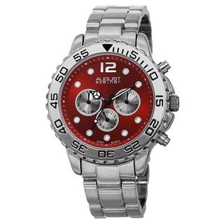 August Steiner Men's Swiss Quartz Colored Dial Dual Time Zone Bracelet Watch