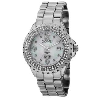 August Steiner Women's Quartz Diamond Silver-Tone Bracelet Watch