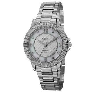 August Steiner Women's Quartz Diamond Markers Dial Silver-Tone Bracelet Watch