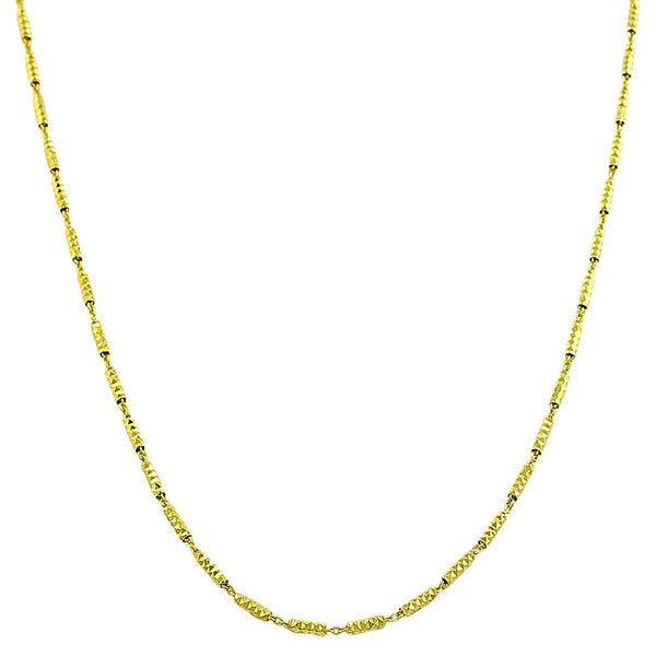 Gold over Silver Diamond-cut Alternate Bar Link Necklace