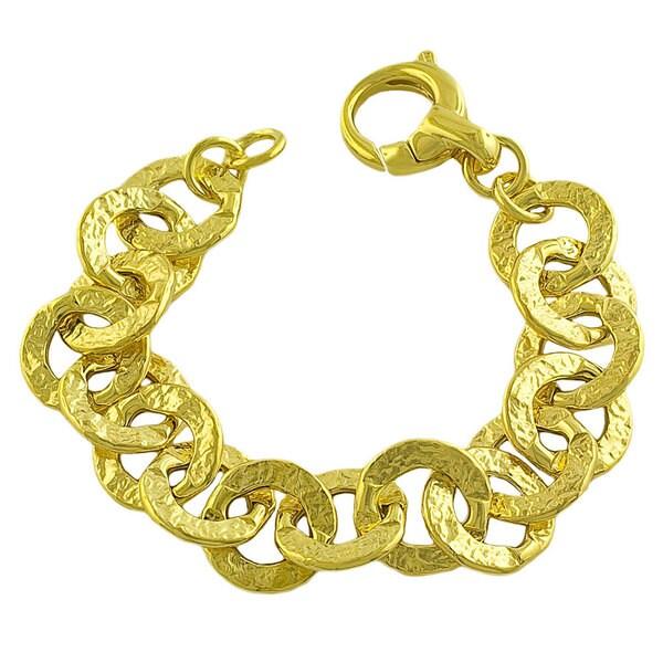 Gold over Silver Hammered Flat Rolo Links Bracelet