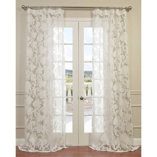 Venus White Designer Sheer Curtain Panel Overstock