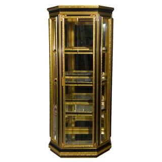 Authentic Hand-made Single Door Gold/ Black Frame Italian Curio Cabinet