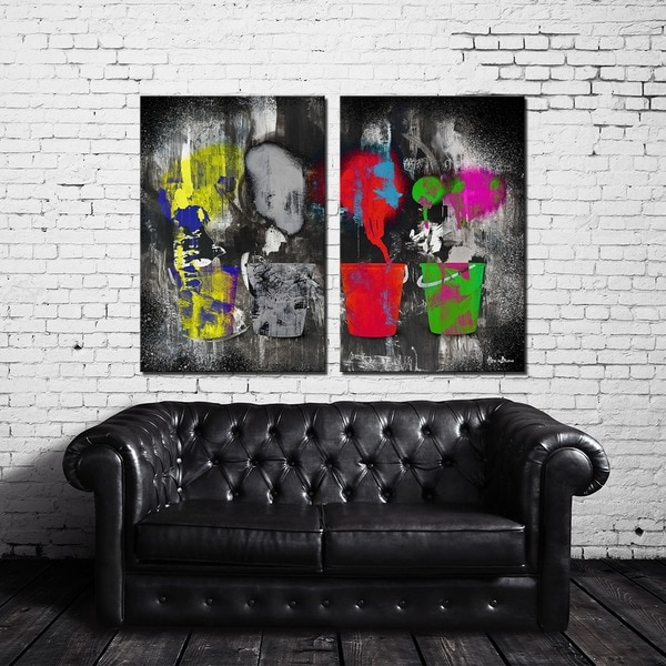 Alexis Bueno 'Inkd VI-B' 2-piece Canvas Art Set