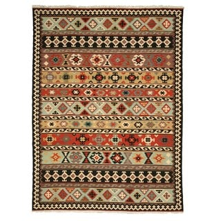 Handmade EORC Multi-colored Wool Turkish Kilim Rug (9'6 x 13'6)