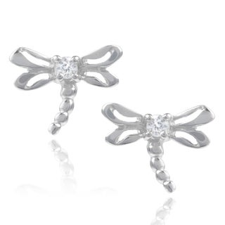 Journee Collection Sterling Silver Cubic Zirconia Dragonfly Stud Earrings