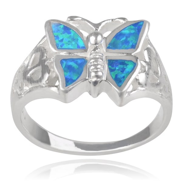 Journee Collection Sterling Silver Opal Butterfly Ring