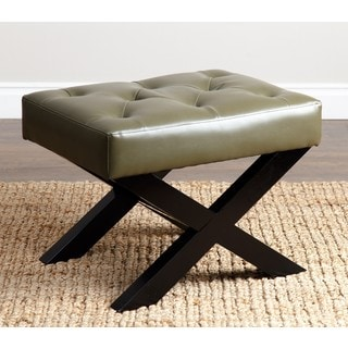 ABBYSON LIVING Devona Green Leather Bench Ottoman