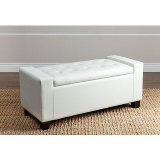 ABBYSON LIVING Montecito Ivory Leather Storage Ottoman