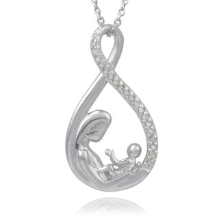 Journee Collection Sterling Silver 1/5ct TDW Diamond Mother and Baby Necklace (J-K, I1-I2)