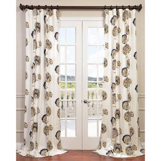 EFF White/ Navy/ Gold Patterned Cotton Zinnia Curtain Panel