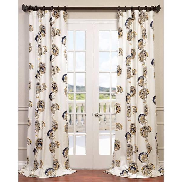 Eff White/ Black/ Gold Patterned Cotton Zinnia Curtain Panel