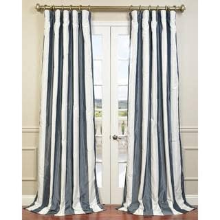 EFF Ivory/ Blue Faux Silk Midnight Curtain Panel