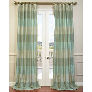 Eff Aqua/ Teal/ Silver Faux Silk Taffeta Iridescence Curtain Panel