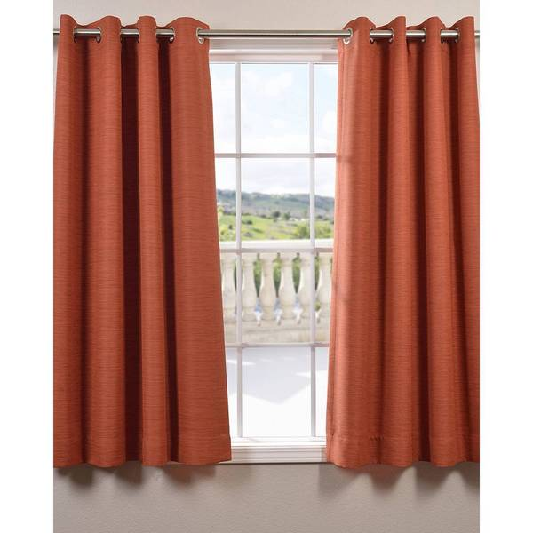 "Exclusive Fabrics Bellino Grommet Top 63-Inch Blackout Curtain Panel 63""L in Persimmon (As Is Item)"