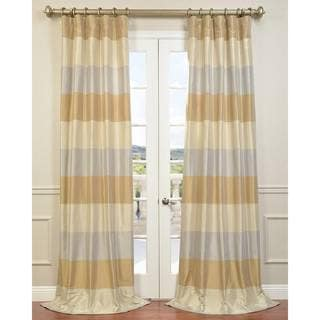 Silvery Bone Gold Mist Cabana Stripe Faux Silk Taffeta Curtain Panel