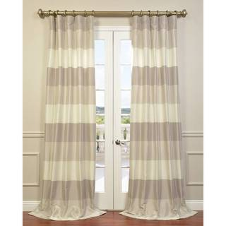Eff Ivory Faux Silk Taffeta Platinum and Pearl Curtain Panel