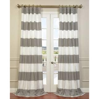 Pewter and Ice Cabana Stripe Faux Silk Taffeta Curtain Panel