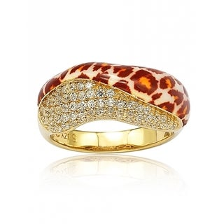 Suzy Levian Gold over Sterling Silver Cubic Zirconia Wild Side Panther Ring