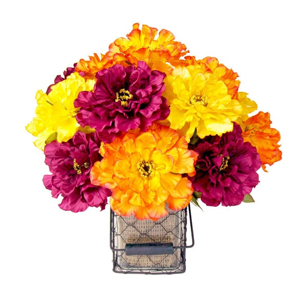 Creative Displays Multicolor Zinnias in Glass Vase with Wire Handled Basket and Burlap Accents 14812437