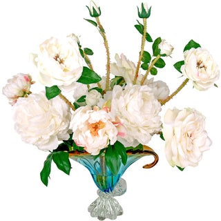 Silk White Rose and Peony Bouquet in Beautiful Blue Deco Glass Bowl with Acrylic Water