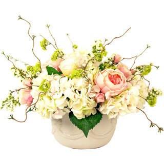 Creative Displays Pink Peony and White Hydrangea Garden Arrangement in Cream Pot