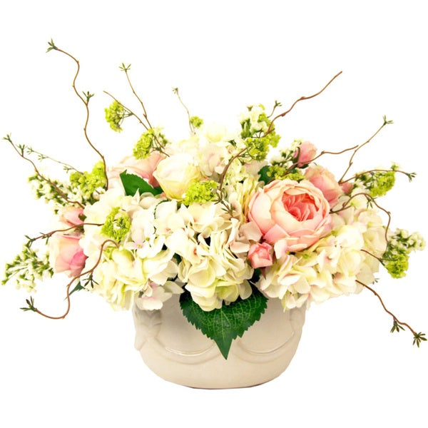 Creative Displays Pink Peony and White Hydrangea Garden Arrangement in Cream Pot