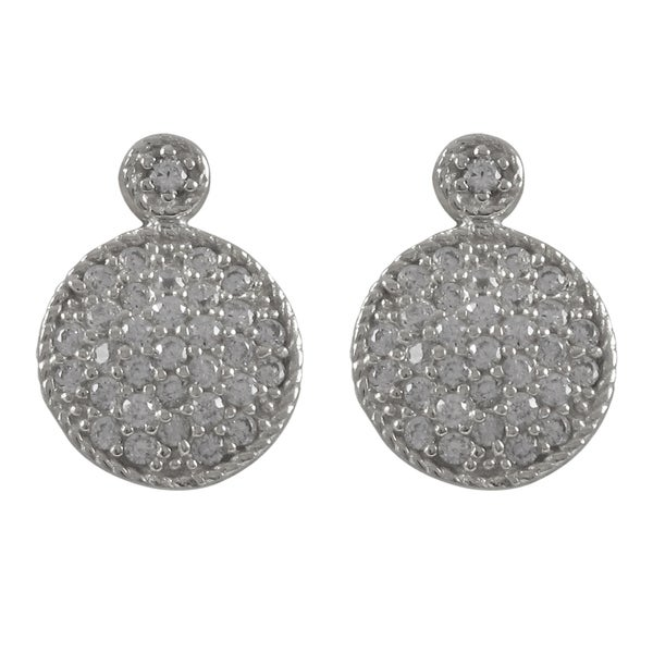 Sterling Silver Cubic Zirconia Circle Pave Drop Earrings