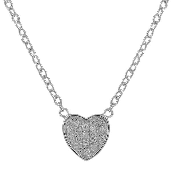 Sterling Silver Cubic Zirconia Pave Heart Necklace