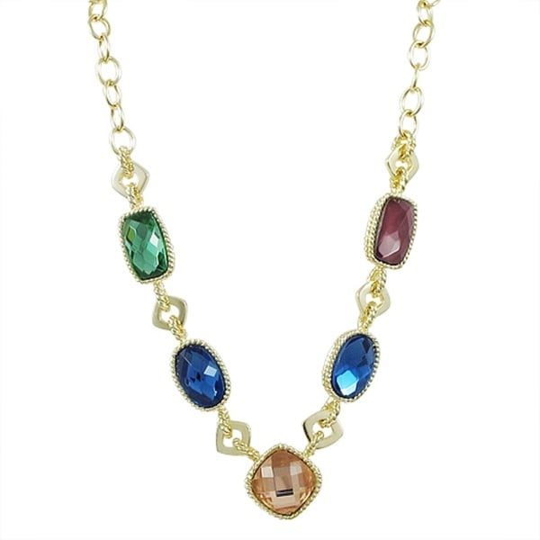 Luxiro Goldtone Multi-colored Faceted Glass Oval and Rectangle Link Necklace 14812502