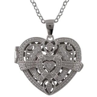 Sterling Silver Cubic Zirconia Filigree Heart Locket Necklace