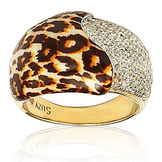 Suzy Levian Gold over Sterling Silver Cubic Zirconia Wild Side Panther Dome Band Ring