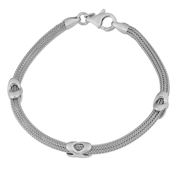 Argento Italia Rhodium-plated Sterling Silver X Station Wheat Bracelet