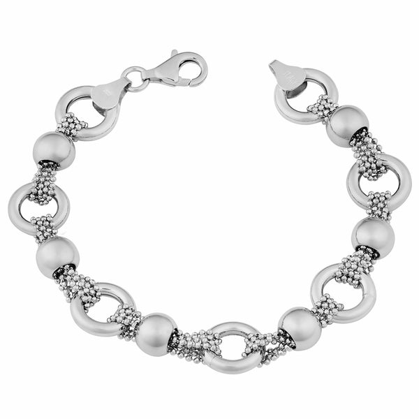 Argento Italia Sterling Silver Alternate Ring and Ball Multi-strand Bead Chain Bracelet